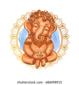 Cute toddler Lord Ganesha holds a lotus - isolated vector illustration. Indian Festival of Ganesh Chaturthi. Ganesha -Ganapati.