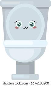 Cute toilet, illustration, vector on white background.