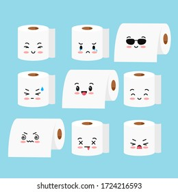 Cute toilet paper roll vector emoji set isolated on white background. Sweet happy and sad emoticon character rolls of toilet paper. Flat design cartoon kawaii style illustration.