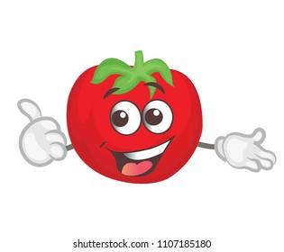 cute tomato character.  cartoon vector