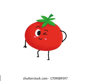 Cute tomato character design. Happy vegetable vector illustration. Cartoon tomato flat design for children books. Green food, can be used in restaurant menu, cooking books and organic farm label