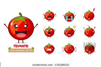 Cute Tomato character illustration set 1