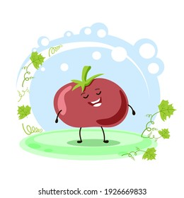 Cute tomato character. Location. Cartoon style. Card for teaching children. Vector stock illustration.