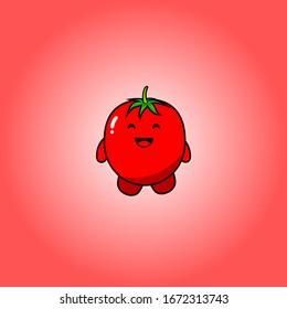 cute tomato mascot, tomato vector design [happy]