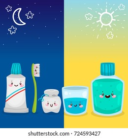 Cute tools for oral dental hygiene, morning and night procedure, informational poster for children, vector.