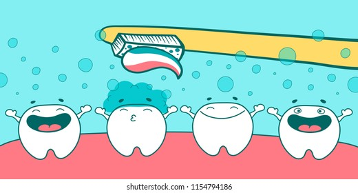Cute tooth character set with different emotions in the mouth cleaned with a toothbrush. Happy cartoon teeth. Vector illustration.