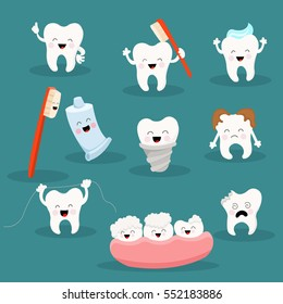 Cute Tooth Character Set with Toothpaste and Toothbrush