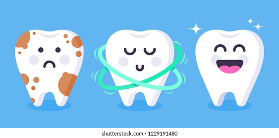 Cute tooth characters. Dental personage vector illustration. Happy teeth set. Oral hygiene, teeth cleaning. Vector flat illustration.