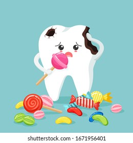 Cute tooth characters feel bad in flat style. unhealthy teeth plaque and caries hole with colorful candy. Illustration for children. dental and dentistry concept.
