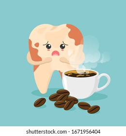 Cute tooth characters feel bad in flat style. unhealthy teeth with coffee stains. coffee makes your teeth yellow. Illustration for children. dental and dentistry concept.
