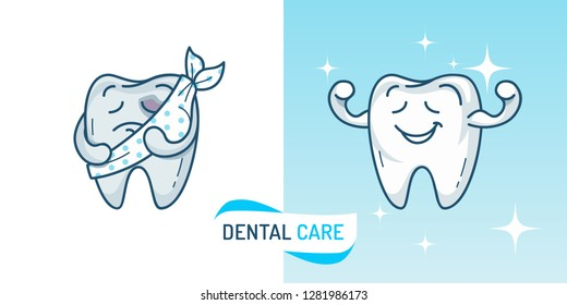 Cute Tooth characters. Healthy Tooth and Bad Tooth with caries. Dental care template concept