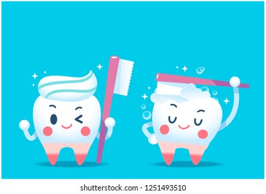 Cute tooth characters holding giant toothbrush and brushing on bright blue background