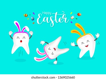 Cute tooth characters with rabbit ears decoration. Happy Easter day concept. illustration isolated on blue background.