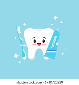Cute tooth emoji with toothpaste, toothbrush and sparkles. Flat design cartoon kawaii style smiling character vector illustration. Happy tooth holds brush and paste. Children teeth hygiene concept.