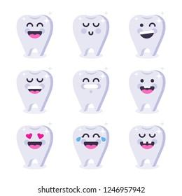 Cute tooth emoticon characters. Dental personage vector illustration. Happy emoji teeth set. Oral hygiene, teeth cleaning. Vector flat illustration.