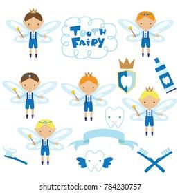 Cute tooth fairy boy vector cartoon illustration