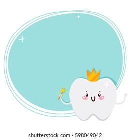 Cute tooth, fairy, cartoon character, oral dental hygiene, vector.
