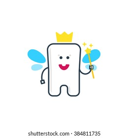 A cute tooth fairy character. Flat vector illustration. Dental health logo. Tooth fairy with wings, crown and magic wand.
