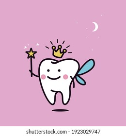 Cute tooth fairy wearing crown and holding a star magic wand vector illustration