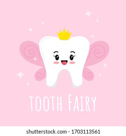 Cute Tooth Fairy with wings, gold crown and sparkles vector icon isolated on pink background. Flat design cartoon kawaii style smiling emoji character.