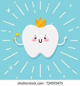 Cute tooth, flying fairy with shining effect stars, cartoon character, oral dental hygiene, vector.