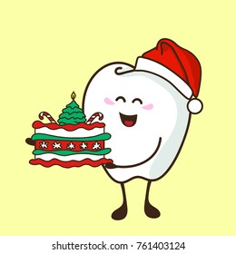 Cute tooth holds the Christmas cake. Christmas dental poster. Vector illustration