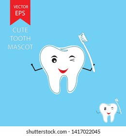 Cute tooth mascot winking and holind toothbrush on blue background EPS Vector