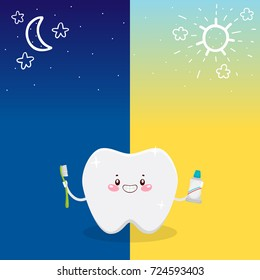 Cute tooth and oral dental hygiene, morning and night procedure, informational poster for children, vector.
