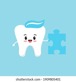 Cute tooth with puzzle piece. Flat design cartoon kawaii style strong smiling character vector illustration. Happy tooth holds puzzle part. Children teeth hygiene and education or challenge concept.