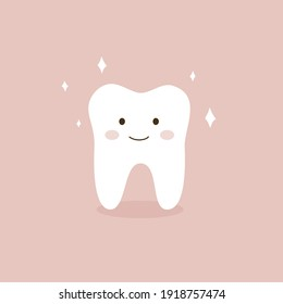 Cute tooth with smile. Healthy tooth concept vector illustration. Isolated on pink background.