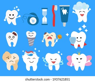 Cute tooth symbols. Dental character vector illustration. Dentistry concept for your design. Illustration for pediatric dentistry. Oral hygiene, teeth cleaning.