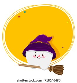 Cute tooth, witch on the broom, Halloween costume, cartoon character, oral dental hygiene, vector.
