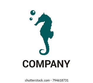 cute torque cartoon iconic seahorse under water ocean living animal marine nature life aquatic aquarium air bubble design idea concept illustration