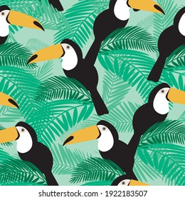 Cute toucan seamless pattern. Flat vector stock illustration. Cute bird in a wild tropical forest. Texture with toucan for printing on fabric, textile. Exotic bird as a seamless illustration