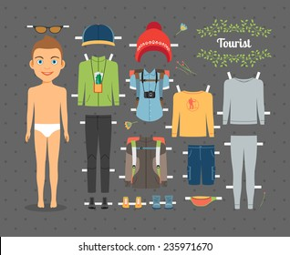 Cute Tourist Boy Paper Doll with Set of Clothes and Shoes for Hiking on Seamless Gray Background