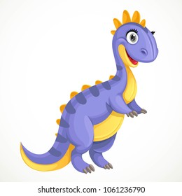 Cute toy baby dinosaur isolated on white background