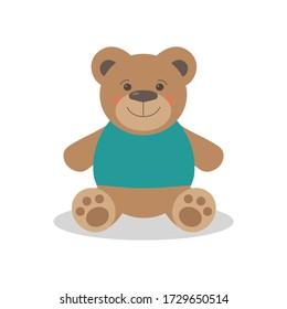 cute toy bear flat vector illustration