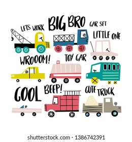 Cute toy cars. Different cars - truck, bus, eco car, fire truck and ambulance.