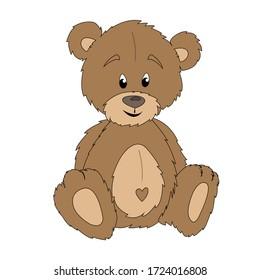 Cute toy teddy bear sitting on a white background