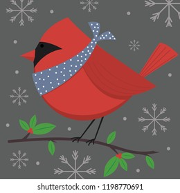 Cute traditional robin, cute Christmas character, vector illustration