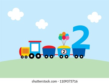 cute train 2nd birthday greeting card vector. cute train happy birthday card.