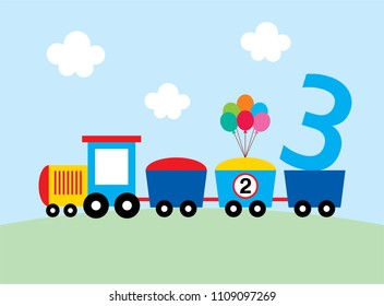 cute train 3 years old birthday stock vector royalty free