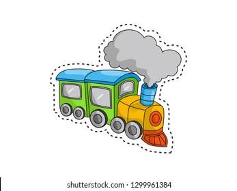 cute train cartoon stickers