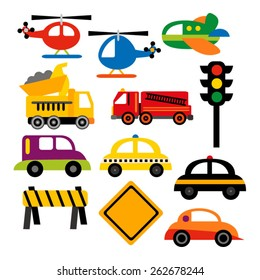 Cute transportation vector. Cars, trucks, helicopter, airplane, and traffic signs.