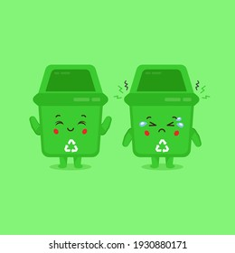 Cute Trash Can Characters Smiling and Sad