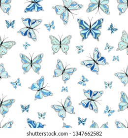 Cute trend butterflies. Vector traditional folk nice decor on neutral, white and blue background for clothing design.