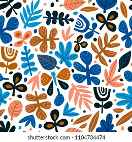 Cute trendy design for fabric, wallpaper, wrap paper.  Scandinavian style repeated background. Vector illustration.