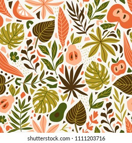 Cute trendy design for fabric, wallpaper, wrap paper. Scandinavian style repeated background with leaves and tropical fruits. Vector illustration.