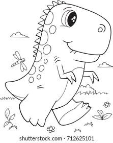 Cute T-Rex Dinosaur Vector Illustration Art