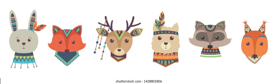 Cute tribal animal faces vector isolated on white background. Animal tribal face fox and deer, racoon and rabbit illustration